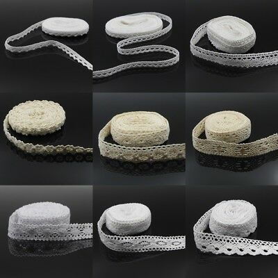 5M Cotton Lace Trim Wedding Ribbon Dress Costume Belt DIY Decor Sewing Craft