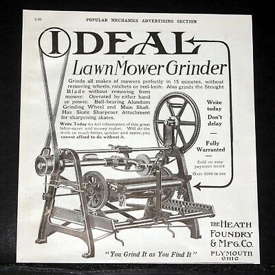 1913 Old Magazine Print Ad, Heath Foundry, Ideal Lawn Mower Grinder, All Makes!