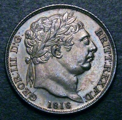 1816 Choice UNC George III Silver Sixpence CGS 85, around MS65.