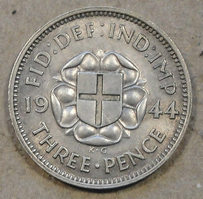 Great Britain 1944 3 Pence Unc. Luster is a bit subdued