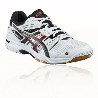 Asics Gel-Rocket 7 Mens White Indoor Court Badminton Sports Shoes Trainers