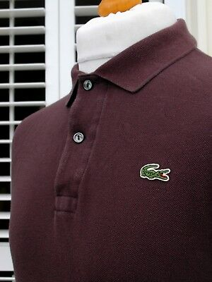 Lacoste Brown Long Sleeve Pique Polo - M - Size 4 - Ska Mod Scooter Casuals