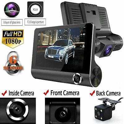 "4"" Dual Lens HD 1080P Car DVR Rearview Video Dash Cam Recorder Camera G-sensor"