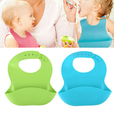 2Pcs Waterproof Baby Soft Silicone Bibs Feeding bib Kids Roll up Catcher Pocket