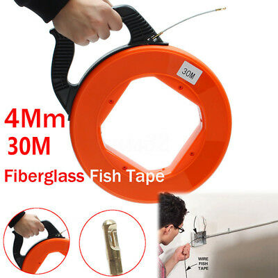 30M 98FT Fish Tape Reel Puller Large Conduit Ducting Pulling Wall Wire Cable Set