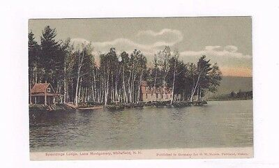 NH Whitefield New Hampshire antique udb post card Spauldings Lodge Lk.Montgomery