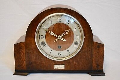 Antique C.1929 Enfield Oak Cased Three Train Westminster Chime Mantel Clock