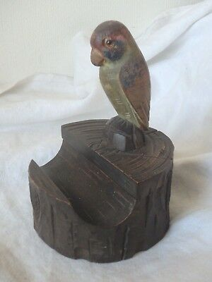 Vintage Antique Black Forest Carved Wood Inkwell Pen Stand Parrot Bird German