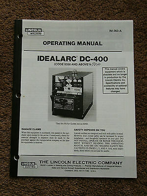 Lincoln Idealarc DC 400 Welder Power Source Operators Manual 9200-9846 Schematic