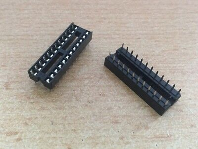 DIL 24 Pin IC Socket, Row Pitch 7.62mm, Terminal Pitch 2.54mm   2 pieces   HU302