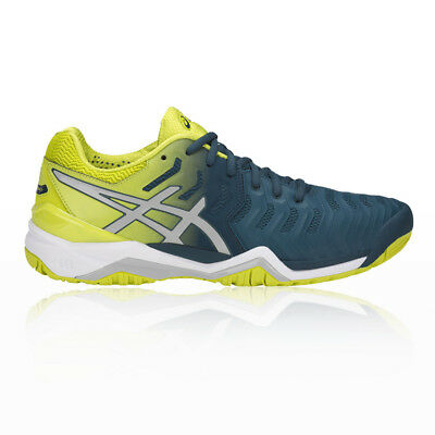 Asics Mens Gel-Resolution 7 Tennis Shoes Blue Yellow Sports Breathable Trainers