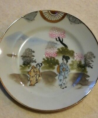 "Japanese Hand Painted Plate Geisha Girls Gold Tea 6"" 15cm Porcelain Vintage"