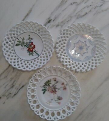 """Lot of 3 Vintage Reticulated Open Lace  Milk Glass 10"""" Plates. Floral painted"""