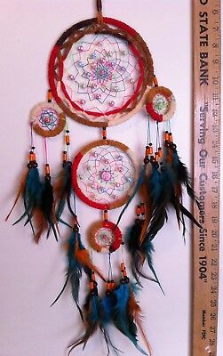 "Cherokee Handmade 27"" Dream Catcher Multi-Color Chenille, Wood Beads, Feathers"