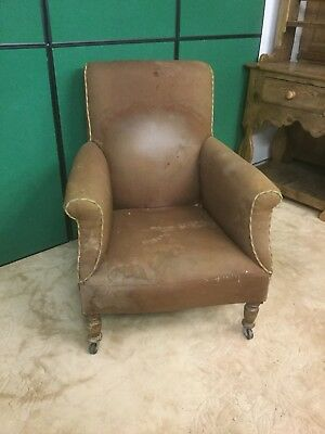 Antique Victorian Upholstered Club Arm Chair For Recovering Sn-23