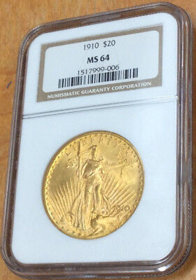 1910 $20 Saint Gaudens American Gold Double Eagle Certifited & Graded NGC MS64