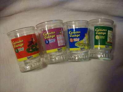 Four Curious George Welch's Jelly Glasses, 1,3,5,6