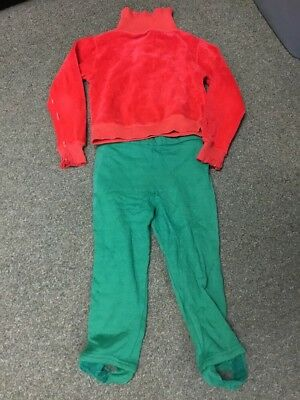 Vintage Girls Clothes Shirt Pants Over 50 Years Old Red Green Soft Material