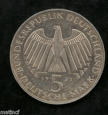 1973 G German 5 Marks Silver Coin Frankfurter Nationalversammlung Brilliant UNC
