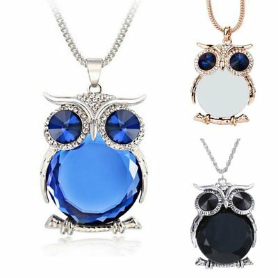 Women Charm Cute Sapphire Crystal Owl Pendant Necklace Long Sweater Chain Gift