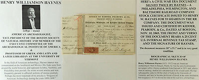 Archaeologist Boston Natural History Librarian Rr Document Signed Kidder Peabody