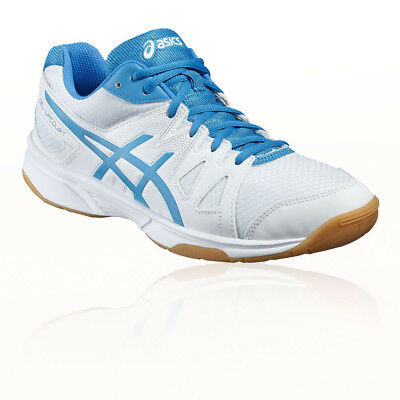 Asics Gel-Upcourt Mens White Blue Indoor Court Squash Shoes Trainers Pumps