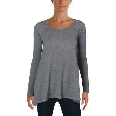 Kensie 2486 Womens Gray Waffle Long Sleeve Fitness Pullover Top Shirt L BHFO
