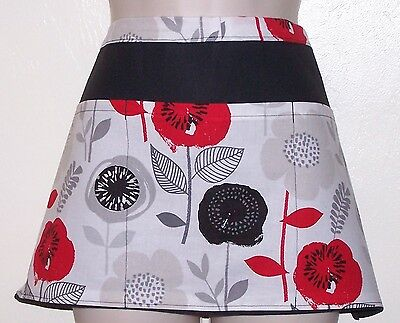 Black apron red and black flowers waitress server waiter waist apron