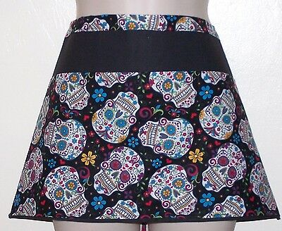 Black waitress APRON,3 pockets SUGAR SKULLS w BLUE EYES RESTAURANT 6142