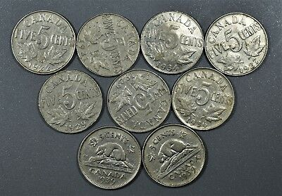 CANADIAN 1922-1939 FIVE CENTS 5C Nickel 9 Coin Lot CANADA  A5116