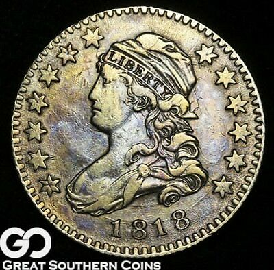 1818 Capped Bust Quarter, Scarce Choice XF+ Tough Type ** Free Shipping!
