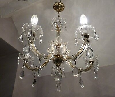 Lovely Vintage 5-Arm Glass Marie Therese Chandelier..Just back from France