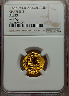 Colombia 1667-93 2 Escudos Ngc 55 Doubloon Cob Pirate Gold Coins Treasure