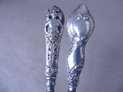 Unusual Victorian Sterling Silver Handled Button Hooks 1900