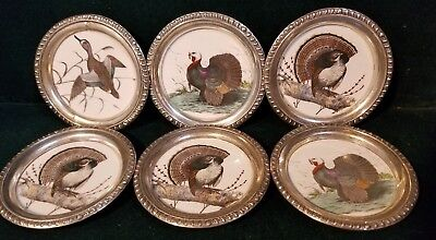 """Set of 6 Frank Whiting Sterling Silver Rimmed GAME BIRD 3 3/4"""" Coasters  M33"""