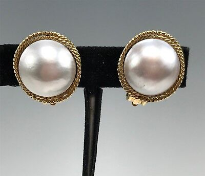 Large 14k Yellow Gold & Mabe Pearl Clip-On Earrings