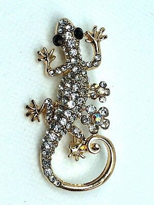 "GECKO Brooch pin clear color rhinestone gold tone 2""x1"" GIFT mothers day gift #1"