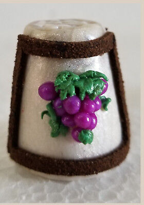 Boulder Bay Thimble - BUNCH OF GRAPES FRAMED with DARK BROWN LEATHER S35
