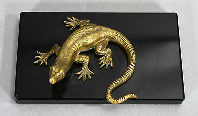 Antique Bronze Lizard Sculpture on Black Marble Base - realistically modeled