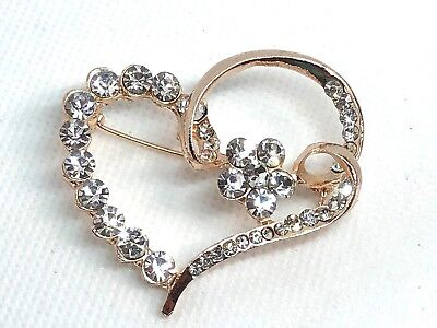 "heart Rhinestone Brooch pin 2""x 2"" GIFT gold tone Christmas gift idea #14"