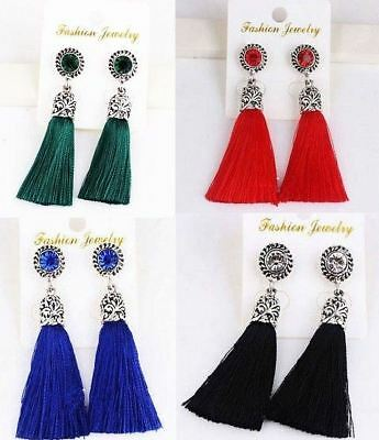 Vintage Women Rhinestones Crystal Tassel Drop Dangle Stud Earrings Boho Jewelry