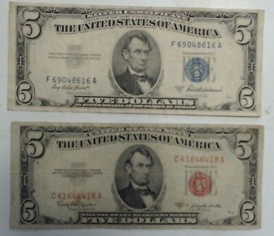 1953 $5 bills, 1 Red Seal U.S. Note,  1 Blue Seal Silver Certificate