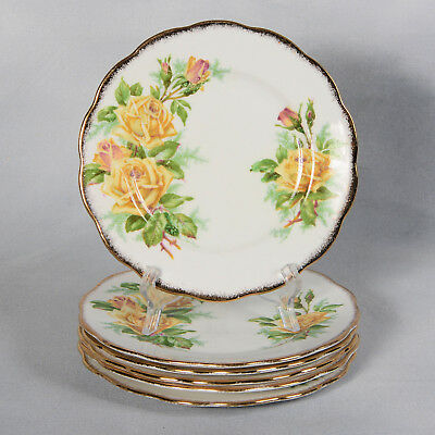 "Set Of 6 Royal Albert ""Yellow Tea Rose"" Bread & Butter/Dessert Plates - 6-1/2"""