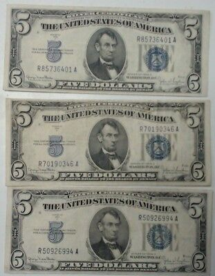 1935 D $5 Silver Certificates Lot of 3