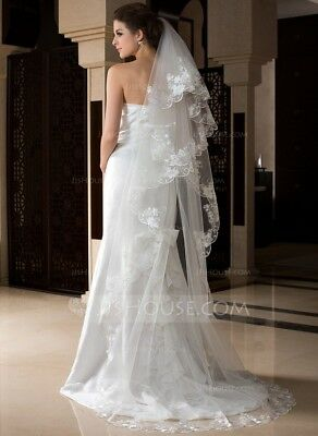 IVORY One-tier Cathedral Bridal Veil With Lace Edged Applique