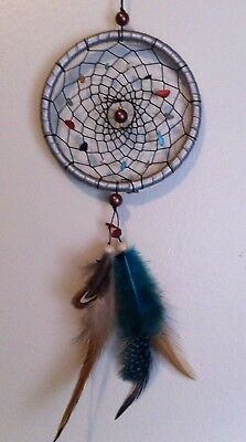 """Cherokee Handmade 14"""" Dream Catcher Turquoise Coral Nuggets, Beads, Feathers"""