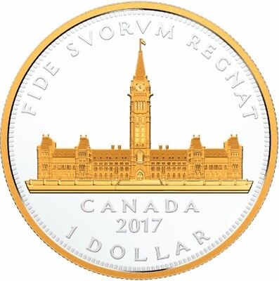 CANADA 2017 $1 Dollar - Royal Visit - Parliament Building - Gold Plated Silver