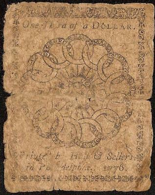 1776 $1/3 Dollar Mind Your Business Continental Currency Fugio Chain Link Note
