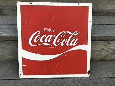 """Vintage Metal 16.5""""X 17"""" Red White Enjoy Coca Cola Advertising Store-front Sign"""