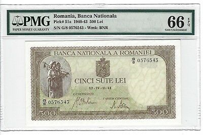 P-51a 1941 500 Lei, Romania, Banca Nationala, PMG 66EPQ GEM + Uncirculated